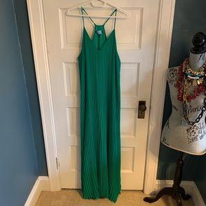 Emerald Green Pleated Halter Maxi Dress sz XL